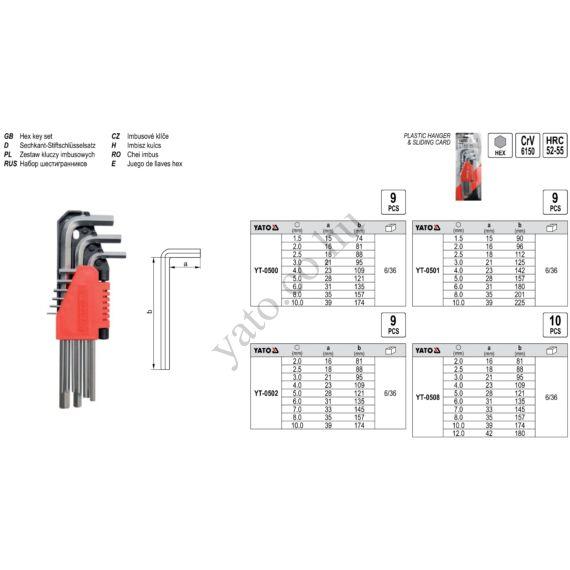 Imbuszkulcs készlet 9 részes (1,5-10) CrV YATO