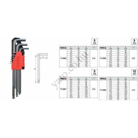 YATO Imbuszkulcs klt. 10 részes 2-12 mm gömbvégű CrV