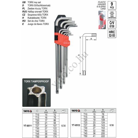 Torx kulcs készlet 9 részes, hosszított (T10-T50) CrV YATO