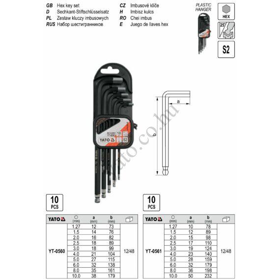 Imbuszkulcs készlet hosszított 10 részes gömbfejű (1,27-10) S2 YATO