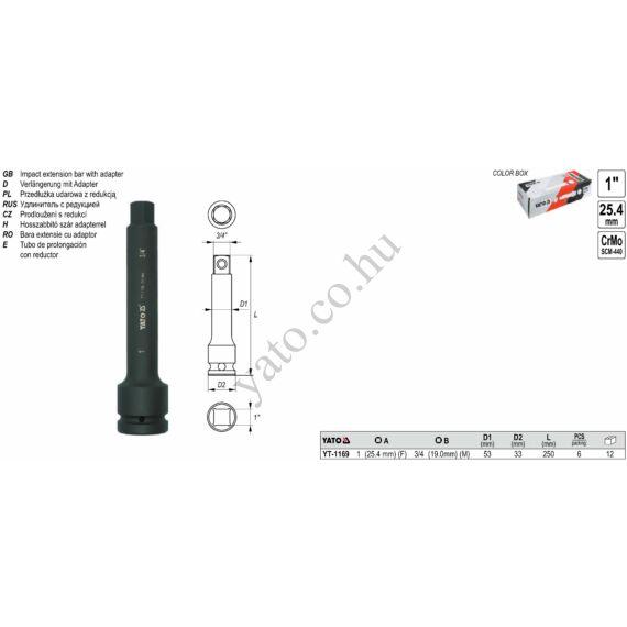 """Hosszabbitó szár adapterrel 1""""-3/4"""" 250mm"""