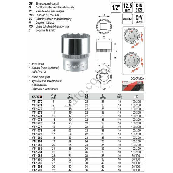 """YATO Dugókulcs 1/2"""" 16 mm 12 szögletű"""