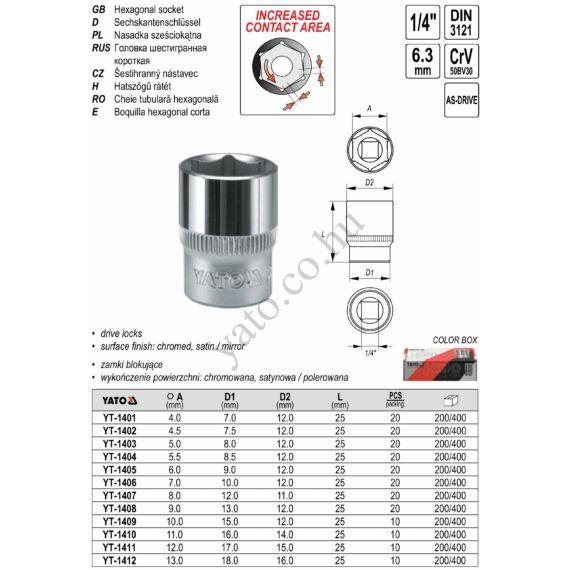 """YATO Dugókulcs 1/4"""" 10 mm CrV"""