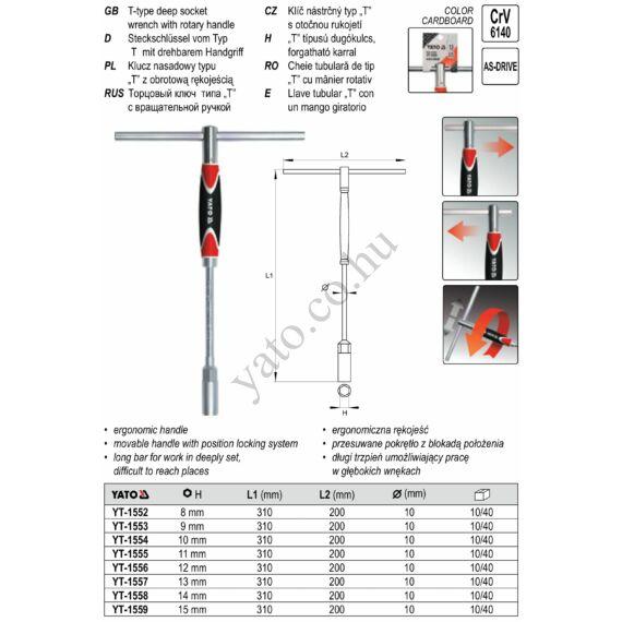 T-kulcs 12 mm x 310 mm forg. nyéllel YATO CrV