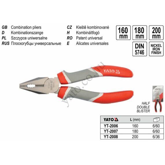Kombinált fogó 160 mm YATO