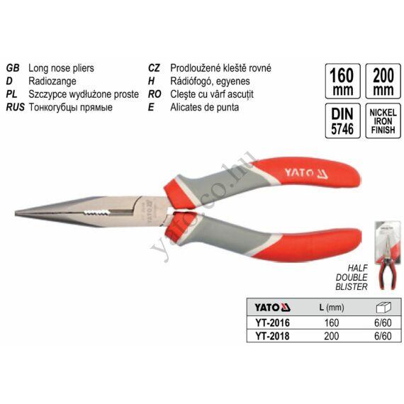 Hosszúcsőrű fogó 200 mm YATO