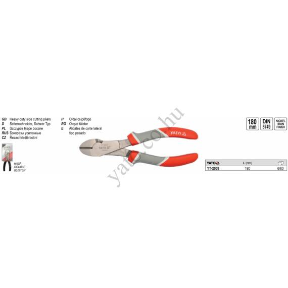 YATO Oldalcsípő fogó, erősített 180 mm