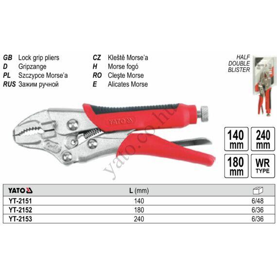 YATO Patentfogó gumírozott markolattal 240 mm