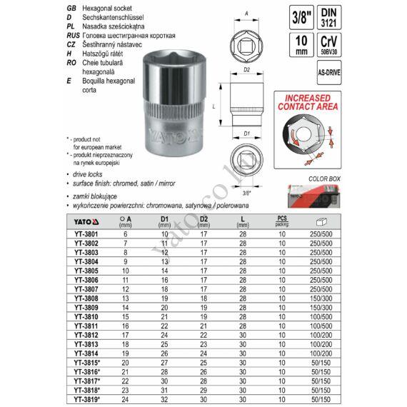 """YATO Dugókulcs 3/8"""" 12 mm CrV"""